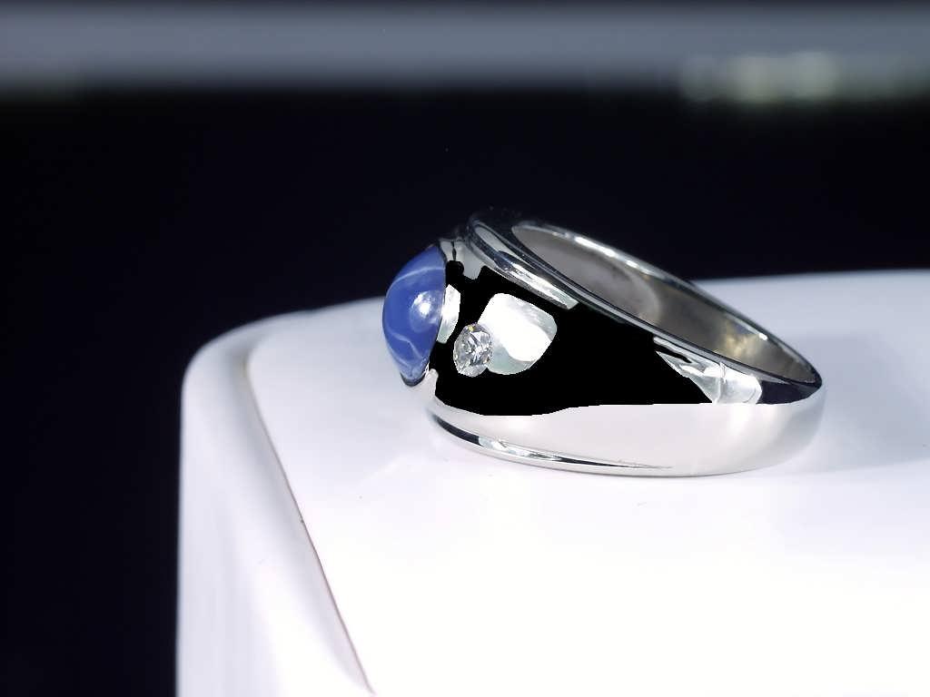 14K WHITE GOLD MENS BLUE STAR SAPPHIRE & DIAMOND RING VINTAGE